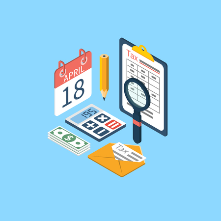 tax return: Tax icon vector. Tax payment. Isometric 3d design. Data analysis, paperwork, financial research, report. Calculation of tax return. Tax form. Tax form vector. Payment of debt.