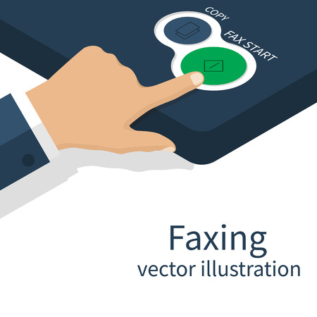 multifunction printer: Man presses a button on a fax machine, a fax transmission. Office equipment. Hand pushing start button fax. Vector illustration. Illustration