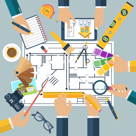 working together: Team of people working together to plan repair project, construction of house. Teamwork on architectural planning. Architect designer, project drawings. Vector flat design. Architect workplace.