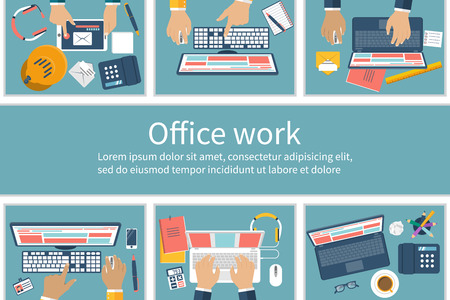 pc icon: Office cubicles with people, working on computers. Office workers. Office Work. Call center. Flat design style, vector illustration.  Work space with employees.Busy Office. Team Working.