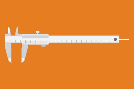 movable: Caliper icon. Measuring instrument engineer, architect, technician. Vector illustration. Movable part caliper are grouped. Easy-to-use resizable. Easy to use for different size. Measuring  instrument.