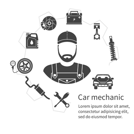 Car mechanic, icons tools and spare parts, concept. Repair machines, equipment. Car service concept. Vector illustration. Auto mechanic icon. Repair car design. Black icons on white background