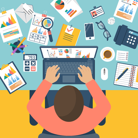 Working with financial papers. Accounting concept. Organization process, analytics, research, planning, report, market analysis. Flat style vector. Man at table with documents. Stock Illustratie