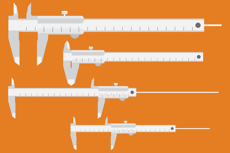 vernier: Caliper icon. Measuring instrument engineer, architect, technician. Vector illustration, flat design style. Set of calipers, for different sizes of parts. Measurement tool. Vernier Illustration