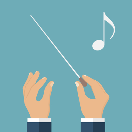 conductors: Hands of conductor orchestra. Music background. Conductors stick. Baton in hands of conductor. Flat design, vector. Conductor conducting an orchestra, isolated icon. Music director. Maestro, composer