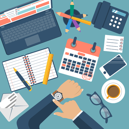 Deadline concept, flat design, vector. Management schedule, time management. Last day month. Calendar with notes. Mark on dates. Planning deadline. 31 numbers. The Man at the table checks the time. Ilustração