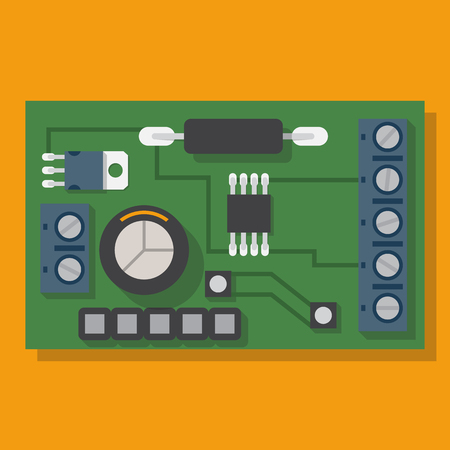 chipset: Electronic board. Motherboard, spare computer. Vector illustration flat design. Electronic equipment. Processor pc. Circuit, board with microchip. Computer chipset.