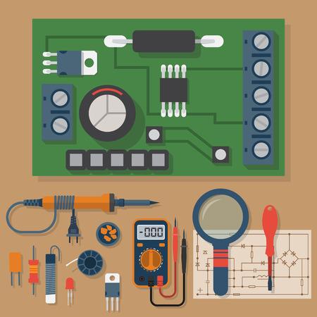 multimeter: Set for soldering chips. Solder, repair of electronic equipment. Vector flat design style. Tools electrician. Motherboard. Soldering iron, board, multimeter, circuit.