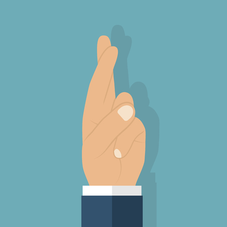 liar: Fingers crossed. Vector icon, flat design style. Symbol of hope, faith, strength, unity. Wish good luck. Superstitious gesture with his hands. Sign of fraud, liar. Illustration