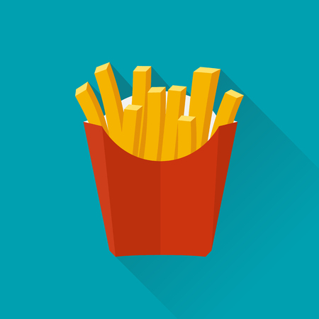 French fries. Vector illustration, flat design. French fries in paper box. French fries in isolated flat design with long shadow. French fries fast food. French fries in a red package. Illustration