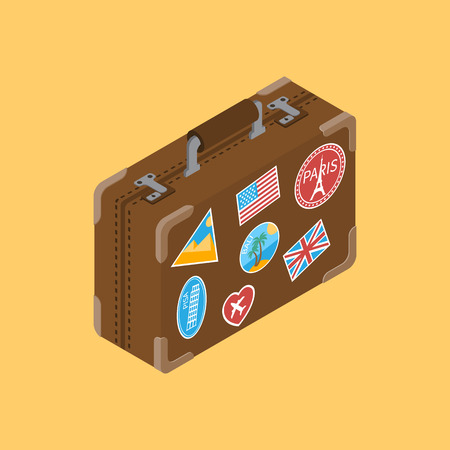 travel bag: Travel suitcase with stickers popular tourist places. Leather suitcase. Old travel suitcase. Travel suitcase isolated, isometric. Bag baggage. Suitcase for trip.
