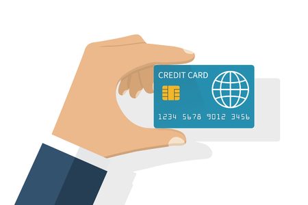 holding credit card: Hand holding credit card. Illustration