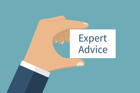Expert advice, vector. Message on the card Expert advice, in hands of businessman. Isolation on background. Vector illustration flat design style. Template.