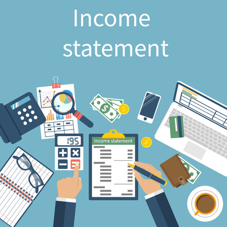 bank statement: Income statement. Accounting finance.