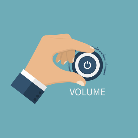 dial: Adjusting volume. Control volume knob. Hand on volume control button. Sound control knob. Turning volume control knob. Illustration
