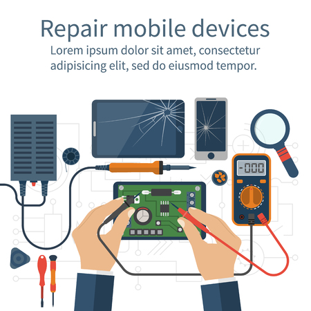 Mobile phone repair. 版權商用圖片 - 57101488
