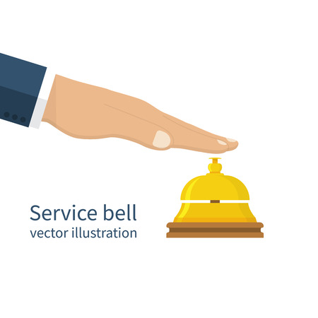 service bell: Male hand pressing service bell. Service bell, flat design style. Vector illustration. Customer at reception presses the call button. Bell hotel. Illustration