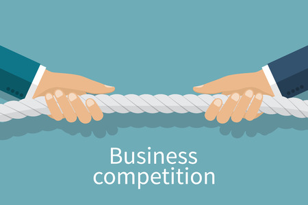 Concepto de la competencia empresarial. Los hombres de negocios tirar de la cuerda como un símbolo de la rivalidad, la competencia, el conflicto. Tira y afloja. ilustración vectorial, diseño plano. conflictos corporativos.