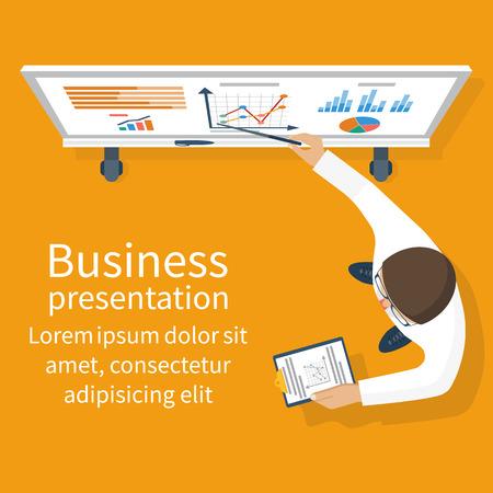 Business presentation. Businessman standing near whiteboard making a presentation.
