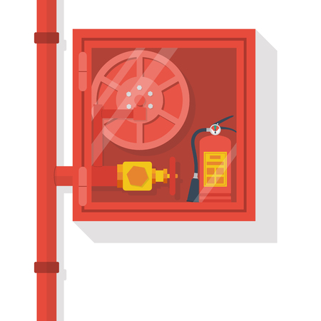 firefighting: Fire hose cabinet isolate in white background.