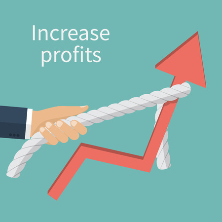 rise: Concept of increased profits. Statistics rise. Businessman raises up the schedule, increasing profit performance. Vector illustration flat design. Illustration