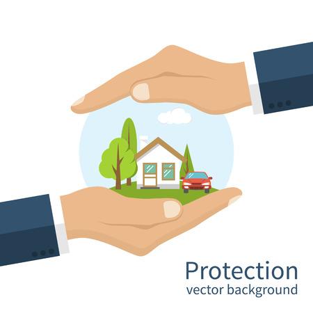 concepto de la seguridad de la propiedad. un seguro de hogar, coche, dinero. Agente de seguros que tiene en la mano de la casa, la protección del peligro, proporcionando seguridad. ilustración vectorial diseño plano. vector de seguro de propiedad
