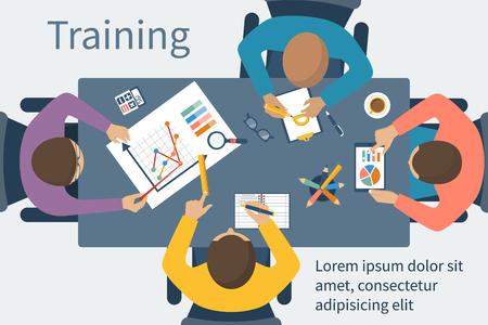 human icons: Business training. Training staff.