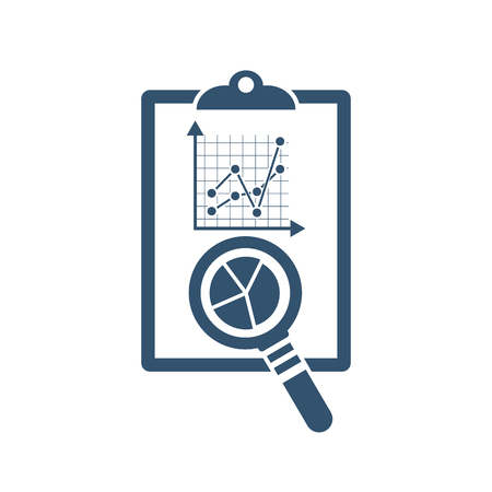 auditing: Auditing icon. Magnifying glass with documents. Illustration