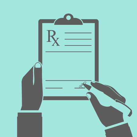 doctor writing: Doctor writing prescription. Illustration