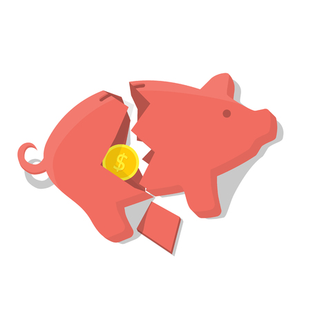 economic depression: Broken Piggy Bank, vector illustration flat design style. Gold coin in a broken piggy bank. Financial crisis, economic depression.  Concept crash financial.