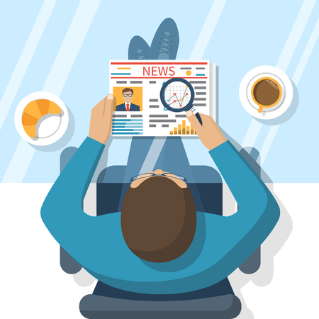 news reader: Businessman reading a newspaper, drinking coffee. Business News. Media. Newspaper news, coffee cup. Vector illustration in flat design style. Illustration