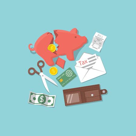 Concept financial crisis, economic depression, crash financial. Vector illustration flat design style. Financial distress, lack of money, poverty, taxes and debts.