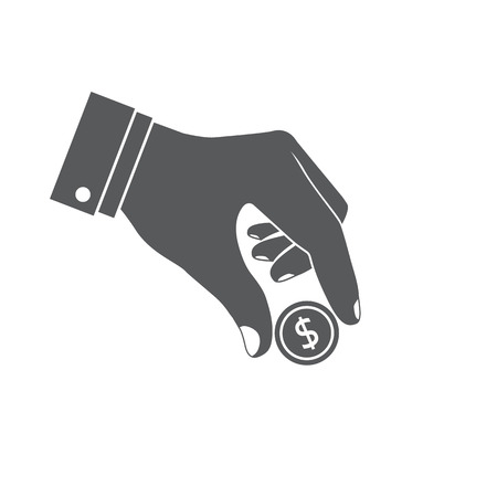give money: Donat icon. Give money icon. Coin in hand. Donate, giving money. Vector illustration. Dollar coin in hand. Illustration