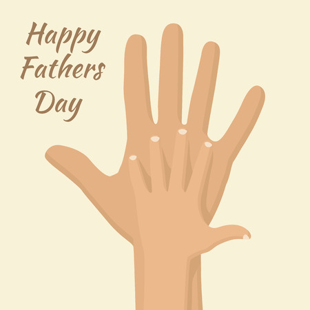 best dad: Happy Fathers day. Hand childs in hand the father. Vector illustration flat design. Symbol of parental love, isolated. Best dad postcard, banner. Fathers Day 19 June. Illustration