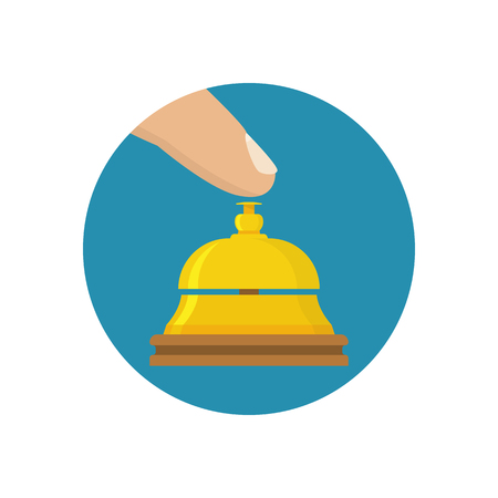 counter service: Hotel bell icon. Finger presses service call, icon flat design style. Vector illustration. Counter bell  hotel. Tap the bell. Hand ringing in service bell.