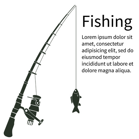 Fishing concept. Silhouette fishing rod with fish. To fish. Vector illustration. Template banner for web design and print. Fisherman equipment. Maybe as a sticker. Fishing rod, fishing line, fish.