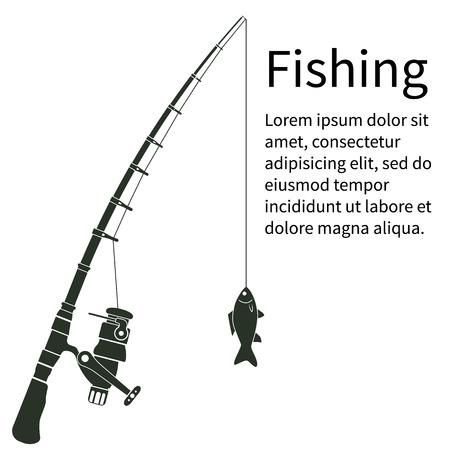 concetto di pesca. canna da pesca Silhouette con il pesce. Pescare. Illustrazione vettoriale. bandiera template per il web design e la stampa. attrezzature Pescatore. Forse come un adesivo. Canna da pesca, linea di pesca, i pesci.