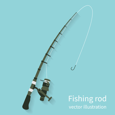 Fishing rod, vector illustration flat design style. Fishing equipment. Rod spinning isolate on background with shadow. Icon rods.