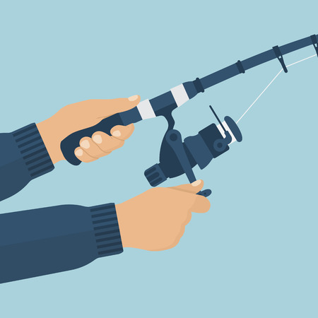 Fishing rod in the hands of men fisherman. Vector illustration of a flat design. Fishing rod closeup. Holding fishing rod, reel fishing line.
