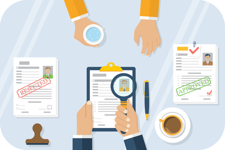 employer: Man on job interview. Employer is carefully studying the summary. Recruitment for work. Vector illustration flat design. Interviews concept template. Candidate for vacancy. Human Resources Department.
