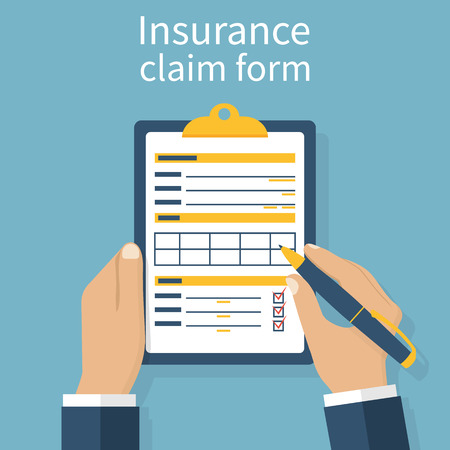 Insurance claim form. Man writes form, holding clipboard in hand. Vector illustration flat design. Иллюстрация