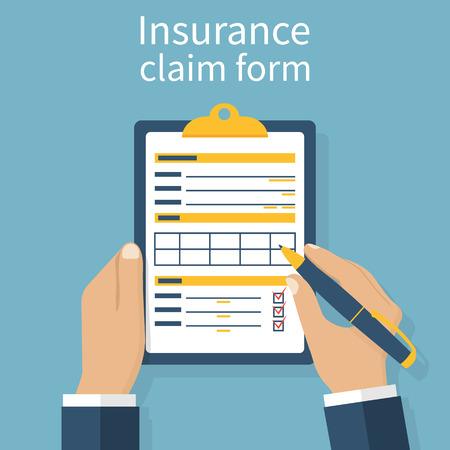 Versicherung Antragsformular. Man schreibt Form, hält Zwischenablage in der Hand. Vektor-Illustration flaches Design. Vektorgrafik
