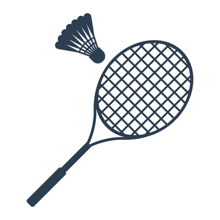 badminton racket: Icon badminton. Badminton racket and shuttlecocks. Icon black on a white background. Sports equipment. Vector illustration.