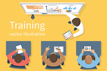 Business training. Training staff. Briefing meeting. Corporate training. Business seminar. Training concept.  Flat style vector. Conference employee. Training conference planning business decisions. Vettoriali
