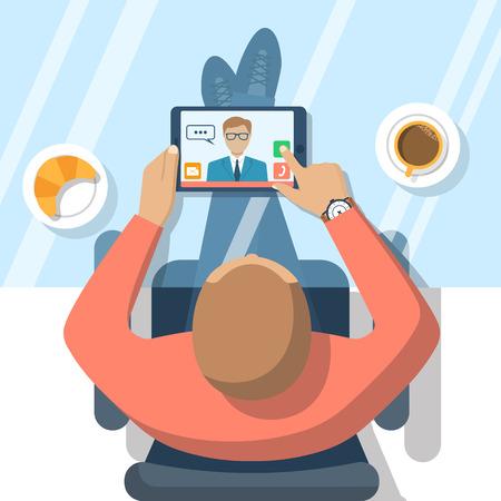 Concepto de chat de vídeo. El hombre sentado en la mesa de cristal, se comunica en un chat de vídeo en el ordenador tableta. chat en línea. ilustración vectorial diseño plano. video conferencia, reunión. Chat web. Ilustración de vector