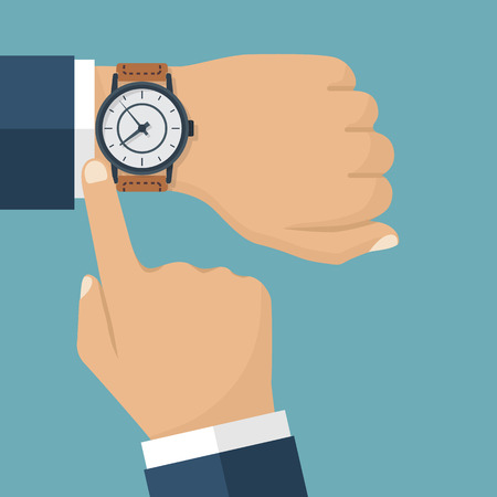 check sign: Wristwatch on the hand of businessman in suit. Time on wrist watch. Man with clock checks the time. Hand with clock isolated on background. Flat design, vector illustration.