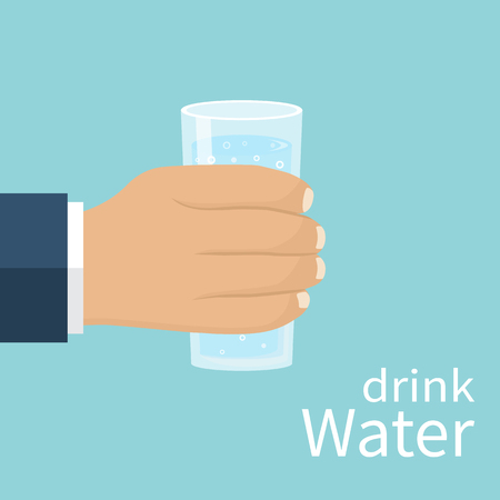 Hand holding a glass with water isolated on background. Vector illustration flat design. Drink water. Quench thirst. Mineral water in a glass.