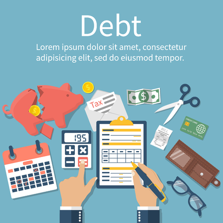 tax form: Debt concept vector flat design. Man in bankruptcy, financial crisis, economic collapse. Tax payment. Businessman calculation tax, debt. Tax form. Payment of debt. Financial problems. Payment bill. Illustration