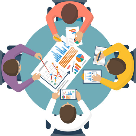 analyzing: Discussion at meeting. Teamwork analyzing, planning, analyzing project, strategy, brainstorming, research, development, financial management, marketing research. Concept business. Vector flat design.