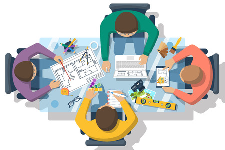 Team of people working together to plan repair project, construction of house. Teamwork on architectural planning. Architect designer, project drawings. Vector flat design. Architect workplace.